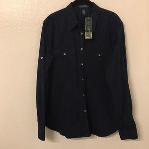 Lauren by Ralph Lauren Navy button up shirt